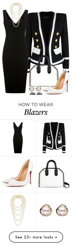 work outfit by ria-kos on Polyvore featuring Balmain, Victoria Beckham, STELLA McCARTNEY, Christian Louboutin, Trilogy and Chanel #christianlouboutingold