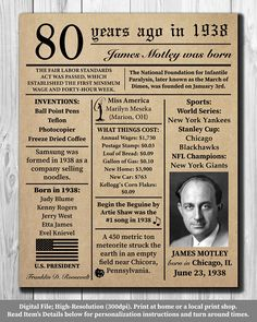 Personalized 80th Birthday 1938 NEWSPAPER Poster, Facts DIGITAL FILE