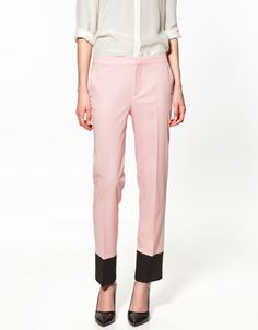 STUDIO TROUSERS WITH CONTRASTING HEM from Zara