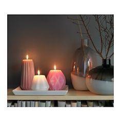 MJUKT Unscented block candle, set of 3 - IKEA
