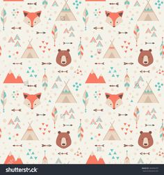Cute tribal geometric seamless pattern in cartoon style with fox, bear, lodge houses, arrows, feathers for fabric and web backgrounds