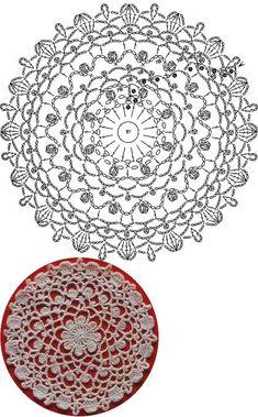 Trendy ideas for crochet blanket flower ganchillo Free Crochet Doily Patterns, Crochet Placemats, Crochet Snowflake Pattern, Crochet Diagram, Crochet Chart, Crochet Squares, Thread Crochet, Crochet Motif, Tatting Patterns