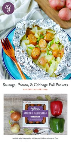 Easy foil packets made easier with Gilbert's individually-wrapped Smoked Andouille Chicken Sausage. Kielbasa And Potatoes, Cabbage And Potatoes, Cabbage And Sausage, Chicken And Cabbage, Sausage And Peppers, Chicken Sausage, Stuffed Peppers, Foil Pack Meals, Foil Dinners
