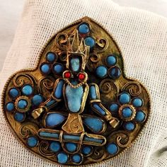 Vintage Tibetan Turquoise and Coral Bead Buddha Pin by LoftyMix, $48.00
