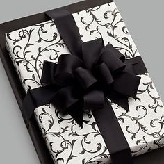 The Container Store > Black Scrolls Reversible Gift Wrap