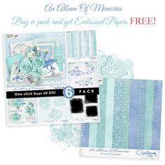 Preserve your past with An Album of Memories. This new collection by Indigo Designs provides a beautiful accent for your most precious memories.  Each pack JUST $1, until July 21.  http://www.pickleberrypop.com/shop/manufacturers.php?manufacturerid=83  Purchase 6-Pack Collection (a $18.64 value) for JUST $6 and get the Embossed Papers FREE! http://www.pickleberrypop.com/shop/product.php?productid=33440&cat=0&page=1