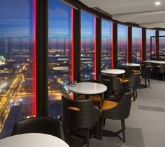 LEMAYMICHAUD | CIEL | Québec | Architecture | Design | Restaurant | Eatery | Hospitality | Bistro | Bar | Natural light | View | Sky | Seating | Chairs | Tables | Lighting Bistro, Ciel, Architecture Design, Conference Room, Tables, Restaurant, Bar, Furniture, Home Decor