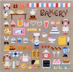 """Mini Bakery"" Counted Cross Stitch Chart Bake Kitchen Sodastitch So 3129 Tiny Cross Stitch, Cross Stitch Kitchen, Cross Stitch Fabric, Cross Stitch Samplers, Counted Cross Stitch Kits, Cross Stitch Charts, Cross Stitch Embroidery, Cross Stitching, Modern Cross Stitch Patterns"