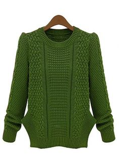 Fine Quality Green Knitting Slit Design Round Neck Sweaters with cheap wholesale price, buy Fine Quality Green Knitting Slit Design Round Neck Sweaters at wholesaleitonline.com !