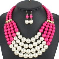 Item Type: Jewelry Sets Material: Acrylic Shape\pattern: Round Pearl Jewelry Sets Type: Necklace/Ear