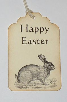 Happy Easter Bunny Handmade  Gift Favor Tag 6 Pieces by hazeleyyes, $4.00