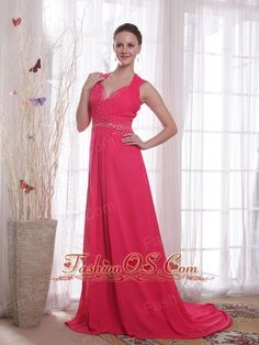 Coral Red Empire V-neck Brush /Sweep Beading Chiffon Prom/Party Dress- $134.25  http://www.fashionos.com   zipper up back prom dress | cheap prom dress under 150 | high end low price | where you can order prom dress | beaded chiffon floor length prom dress | tide buy evening gowns | prom girl prom dresses | light in the box evening dresses | red floor length prom dress |