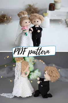 Crocher pattern bundle - boy doll and girl doll + their wedding outfits. 4 patterns, plus girl has 11 more outfits available! Crochet Doll Pattern, Crochet Toys Patterns, Amigurumi Patterns, Stuffed Toys Patterns, Boy Doll, Girl Dolls, Cute Crochet, Crochet Hats, Crochet Wedding