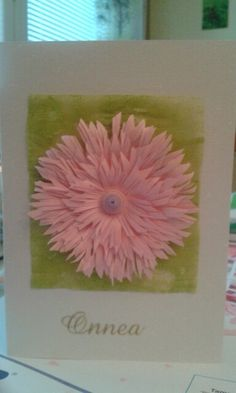 Pink flower by quilling