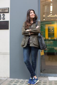 We spotted Seda on Carnaby Street and loved this casual look. Seda wears the Classic Beadnell and has paired with some bright trainers for a cool urban look.