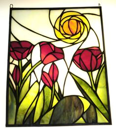 STAINED GLASS TULIPS by heatherlynnstudios on Etsy, $350.00