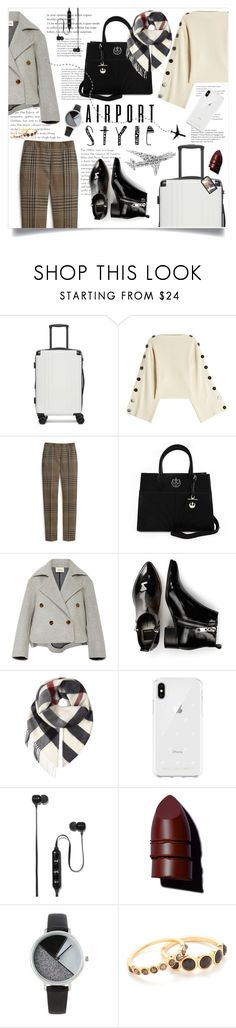 """""""Wanderlust - Airport Style"""" by allyssister ❤ liked on Polyvore featuring CalPak, Petar Petrov, Mulberry, Loungefly, Khaite, Dolce Vita, Burberry, Rebecca Minkoff, Polaroid and Anastasia Beverly Hills"""
