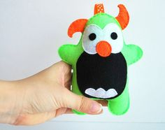 Baby Monster Felt Plush  Baby Rattle toy  Baby safe by Mariapalito