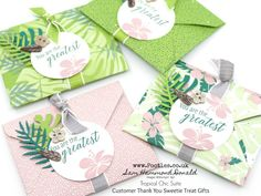 #1 Stampin' Up! Demonstrator Pootles –Tropical Chic Envelope Punch Board Customer Thank You Gifts Oh I am in love with the Tropical Escape Suite. It's so on trend right now. So m…