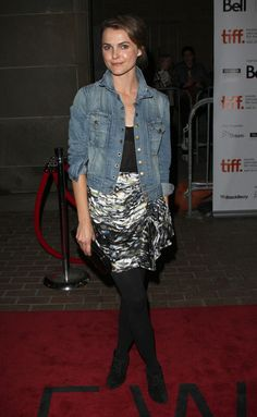 Keri Russell, denim tights and abstract skirt