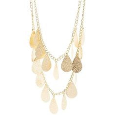 Charlotte Russe Teardrop Layered Necklace ($6) ❤ liked on Polyvore featuring jewelry, necklaces, gold, gold jewellery, tear drop jewelry, teardrop necklace, gold jewelry and charlotte russe jewelry