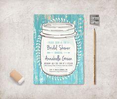 Modern and customized printable wedding / bridal shower / birthday invitation - Turquoise Rustic Mason Jar Invitation    COORDINATES with Rustic