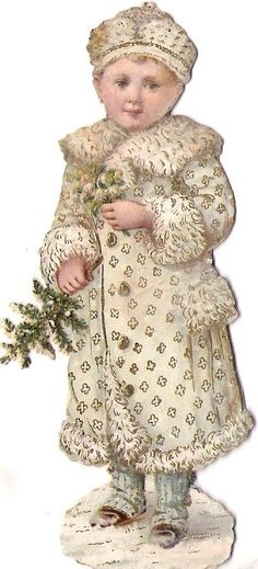 Antique Diecut Scrap... Snow Girl.