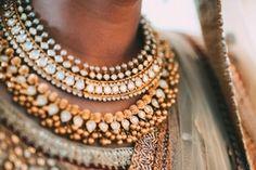 Real Indian Weddings - Hisham & Shaziya | WedMeGood | Gold and Polki Choker Set with Hanging Ghungroos #wedmegood #indianjewelry #jewelry #necklace #indianwedding #realwedding #ghungroo #polki #gold