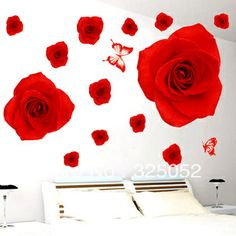 High quality!2013 New Rde Roses 3D DIY Removable Art Vinyl  Wall Stickers Decor Mural Decal US $8.99