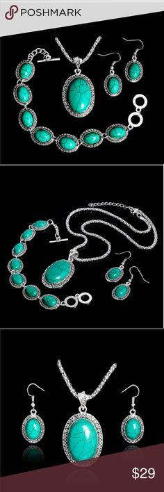Howlite Jewelry Set 3 pc jewelry set. Necklace, dangle earrings & bracelet. Absolutely stunning set! Jewelry