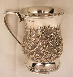 Antique English Sterling Repousse Christening Mug c. 1904