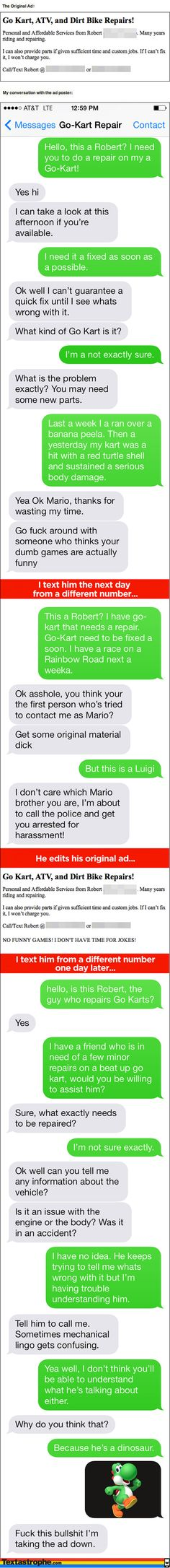 Mario Kart Text Prank to a Go Kart Repair Shop