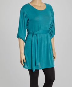 Look what I found on #zulily! Teal Tie-Waist Sweater Dress - Plus by Poliana Plus #zulilyfinds