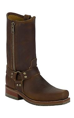 Double H® Men's Distressed Brown Harness w/ Zipper Square Toe Western Boot | Cavender's Boot City