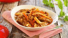Festgryte med biff og mørkt øl Thai Red Curry, Beef, Dinner, Ethnic Recipes, Food, Dining, Meal, Dinners, Essen
