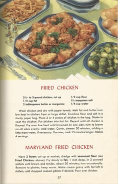 Maryland Fried Chicken and Vintage Recipes, Chicken, Stuffing Retro Recipes, Old Recipes, Cookbook Recipes, Vintage Recipes, Great Recipes, Dinner Recipes, Cooking Recipes, Favorite Recipes, 1950s Recipes