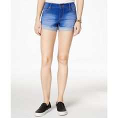 """Celebrity Pink Juniors' 3"""" Cuffed Denim Short, Blue Lagoon Wash ($22) ❤ liked on Polyvore featuring shorts and dark blue"""