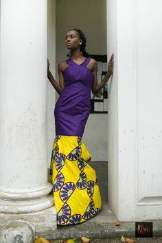 Cotton purple African combi dress by BoutiqueDeLAfrique on Etsy South African Fashion, African Fashion Designers, High End Fashion, Modern Fashion, Cocktail Wear, Lookbook, Fashion Boutique, Fashion Brand, Color Combinations