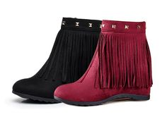 Womens Trendy Fringe Wedge Boots