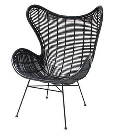 HK-living Stoel zwart rotan Egg chair 83x70x110cm - wonenmetlef.nl