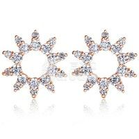 Barbara丨Sun Shape 18K Gold Plated AAA Zircon CZ Stud Earrings for Women Fashion Jewelry