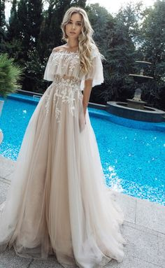 Appliques Off-the-shoulder A-line Wedding Dress Casual Wedding Dresses With Sleeves & White Wedding Gowns on Cocosbride White Wedding Gowns, Wedding Dress Trends, Princess Wedding Dresses, Dress Wedding, Wedding Dresses With Color, Wedding Ideas, Tulle Wedding, Lace Weddings, Ivory Wedding