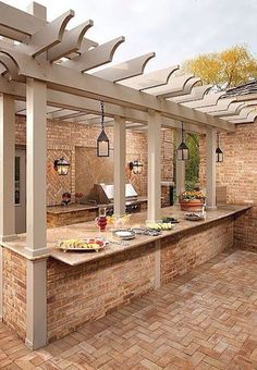 pergola over an outdoor kitchen bar for buffet style parties or for eating in @ Home Improvement Ideas. Would need to change the patio Outdoor Kitchen Bars, Outdoor Kitchen Design, Backyard Kitchen, Rustic Outdoor Kitchens, Outdoor Buffet, Outdoor Life, Outdoor Rooms, Outdoor Areas, Outdoor Living Spaces