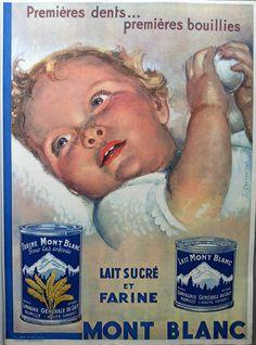 Lait Mont Blanc authentic poster 1933 Baby Milk art poster by J. Courvoisier #poster #etsyretwt