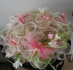 """Pink dragonfly deco mesh centerpiece 12"""" Ready to ship! by NancysNowandForever on Etsy"""