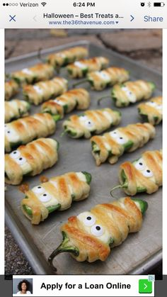 Clever Halloween hors d' oeuvres.