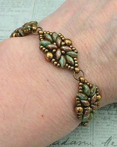 "LORETTA DECO BRACELET 11/0 seed beads Miyuki ""Dark Bronze"" (457)  8/0 seed beads Miyuki ""Dark Bronze"" (457)  SuperDuo beads ""Duet Green Turquoise/Ivory Picasso"" SuperDuo beads ""Chocolate White Luster"""