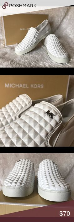 NWT Michael Kors Pratt White Leather Slip On NWT Michael Kors Pratt white leather slip on sneaker shoe. Size 7.5. New with box. Never worn. No marks or scuffs. The perfect summer shoe! Michael Kors Shoes Sneakers