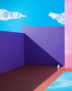 Lacey | Trunk Archive , Poolside, 2009 / 2013 © www.lumas.com/ #LumasAbstract, Architecture, artificial, Building, cloud, Clouds, geometric, Geometry, graphic, Human, Man, Men, Paper, People, Photography, Pool, Pools, purple, Shadow, Wall, Walls