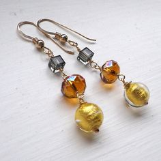 Gold Murano autumn copper dangle earrings by OVGilliesDesigns, £50.00
